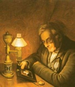 James Peale, by Charles Wilson Peale featuring an argand lamp