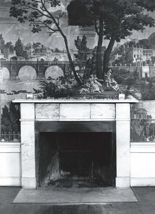 French Dufour wallpaper with scenes from Paris and Naples.