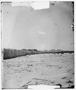 2-Stockade on Morris Island where GWN was confined under fire with 599 other Confederate officers in retaliation for the CSA placing Federal prisoners under fire in Charleston [Library of Congress]