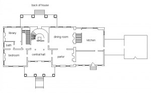 Long Branch Plantation 1st floor plan circa 1915.