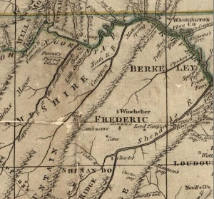 The Fry-Jefferson map of Virginia was drawn in 1751 by Joshua Fry and Peter Jefferson (father of Thomas Jefferson). Highlighted are two Shawnee camps along the Cohongoronto (Potomac) River.